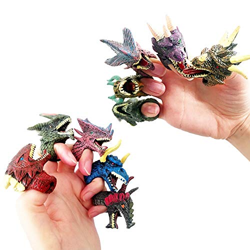 Dinosaur Finger Puppets Toys for Kids, 12 Pack Rubber Realistic Dinosaur Finger Set Role Playing Toys for Halloween Dinosaur Party Favors, Pinata Fillers and Goodie Bag Fillers