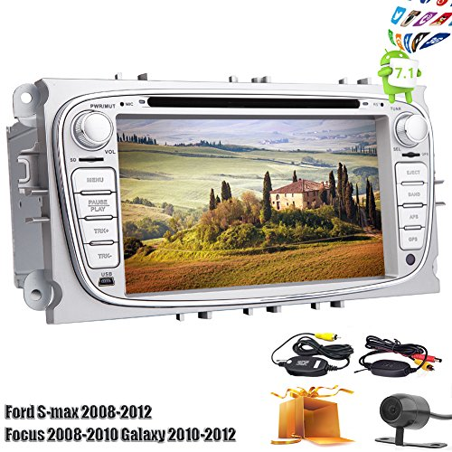 """Upgrade Pure Android 7.1 Nougat Car DVD Player Double Din 7"""" Capacitive Touchscreen Car Stereo with GPS Navigation Design for Ford S-max 2008-2012 Focus 2008-2010 Galaxy 2010-2012 (Sliver Color)"""