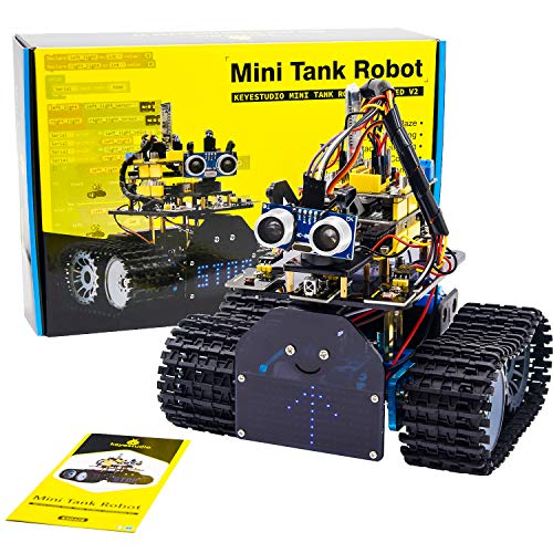 KEYESTUDIO Smart Robot Car Kit V2.0 Kompatibel mit Arduino IDE Elektronik Baukasten mit Mikrocontroller, Line Tracking Modul, Ultraschallsensor, Bluetooth-Modul, Auto Roboter