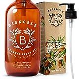 BIONOBLE BIO ARGANÖL 100% Rein, Natürlich, Kaltgepresst & Vegan | Pumpe, Recycelbare Glasflasche | Argan Öl für Haare, Haut, Gesicht, Körper & Nägel | Argan Oil of Morocco (250ml)