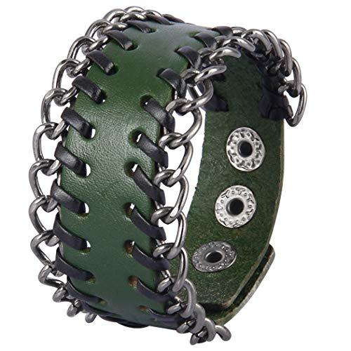Fascigirl Accesorios para Tejer Brazalete Moda Punk Cuff Wrap Bracelet Pulsera De Cuero Falso para Hombres Y Mujeres
