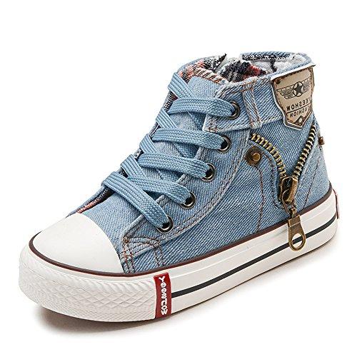 FZUU Sneaker Kinder Schuhe Sport Atmungsaktive Jungen Turnschuhe Mädchen Jeans Denim Flache Stiefel (25 EU, Himmel Blau)