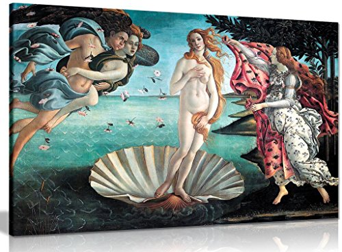 The Birth of Venus Painting by Sandro Botticelli Canvas Wall Art Picture Print (36x24in)