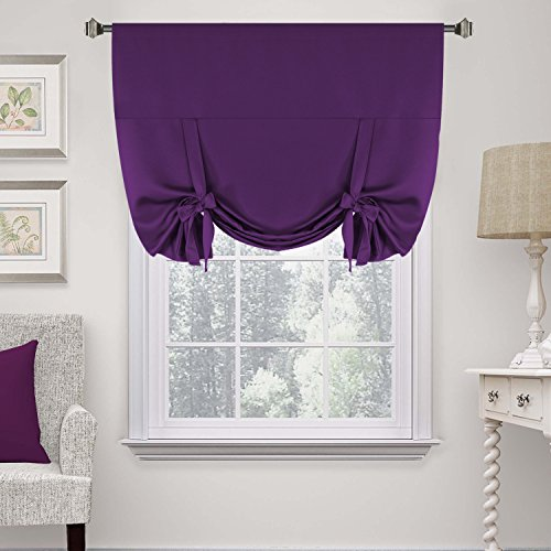 H.Versailtex Thermal Insulated Blackout Curtain Tie Up Window Shade (Rod Pocket Panel) - 42' Wide by 63' Long - Plum Purple