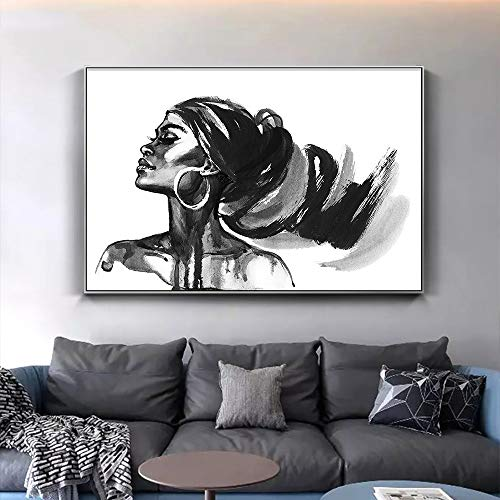 yhyxll Schönheit Afrikanische Frau Mode Porträtbilder Für Wohnzimmer Wohnkultur Aquarell Mädchen Wand Poster Leinwand Malerei 60x90 cm