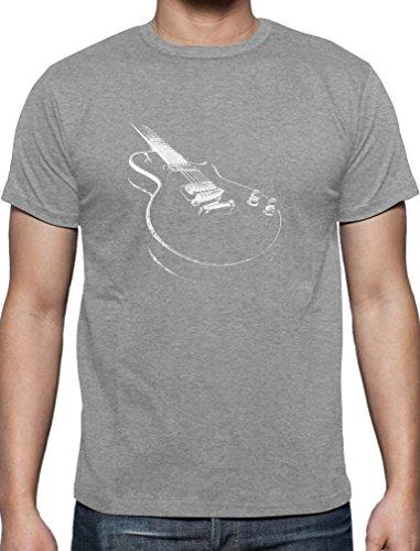 Geschenk für alle Musikfans mit E-Gitarre - Motiv T-Shirt XX-Large Grau