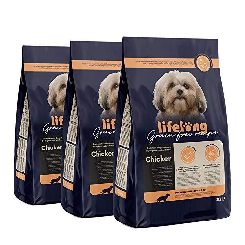 Marca Amazon - Lifelong Alimento seco completo con pollo fresco para perros sénior de razas pequeñas, receta sin cereales - 3kg*3