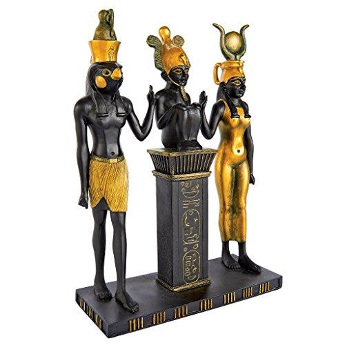 Design Toscano Figur Osiris, Isis und Horus Ägyptische Götter, schwarz, 6,5 x 15 x 23 cm, WU67955