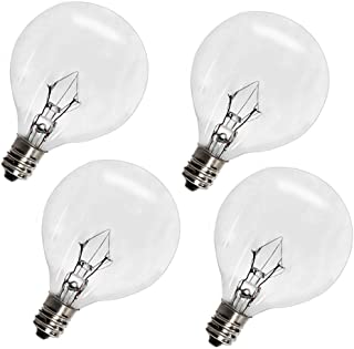 Wax Warmer Bulbs,25 Watt G50 Bulbs for Full Size Scentsy Warmers,G16.5 Globe E12 Incandescent Candelabra Base Clear Light Bulbs for Candle Wax Warmer,1.97 Inches,Long Last Lifespan 4 Pack
