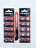 Camelion - Pila a bottone alcalina LR 44 AG13, 20 pezzi, 1,5 V + 1 taglierino