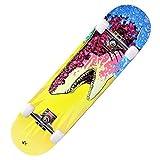 Skateboard Adulte 7 Couches érable Professionnel Skateboard débutant Hommes et Femmes Double Rocker 31x8 Pouces Complet Skateboard Cruiser Stunt Skateboard-N_Roue Clignotante de Rue