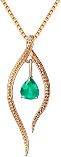 Drop-Shaped Pendant Necklace for Women, Natural Emerald Handmade with Golden Chain 18inch(Emerald) (Green)
