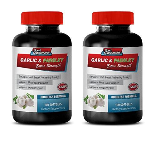 Blood Pressure Supplements Best Seller - Garlic & Parsley - Supports Immune System - Garlic Pills for Blood Pressure - 2 Bottles 200 Softgels