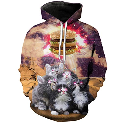 Sudadera con Capucha 3D De Moda The Burger Animal Cat Print Sudadera con Capucha Informal para Hombre Y Mujer Color As The Picture2 XXL