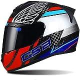 ZHXH Casco de motocicleta retro Casco unisex adulto de fibra de carbono para motocicleta Casco integral en línea con aprobación de punto,