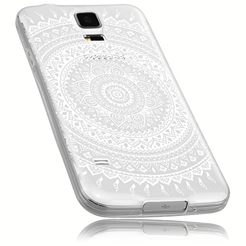 mumbi Hülle kompatibel mit Samsung Galaxy S5 / S5 Neo Handy Case Handyhülle mit Motiv Mandala weiss, transparent