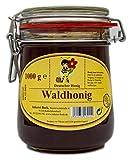 Echter Deutscher Imkerhonig im Honigtopf - Honig vom Imker aus Bayern (Waldhonig 1000g) im wiederverwendbarem hochwertigem Bügelglas.