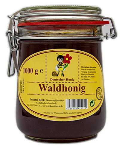 ImkereiBeck® Echter Deutscher Imkerhonig im Honigtopf vom Imker aus Bayern (Waldhonig 1000g) im wiederverwendbarem Bügelglas.