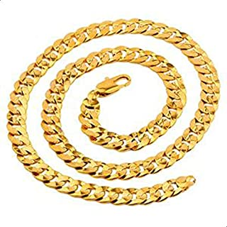 "Men's 18K Yellow Gold Filled Cuban Chain Necklace 23.6"" Gold Finish Curb Chain Link Jewelry 7mm Width"