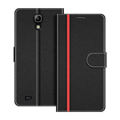 COODIO Funda Samsung Galaxy S4 Mini con Tapa, Funda Movil Samsung S4 Mini, Funda Libro Galaxy S4 Mini Carcasa Magnético Funda para Samsung Galaxy S4 Mini, Negro/Rojo