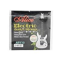 Alice AE530-XLメッキスチールニッケール合金巻線エレクトリックギター弦、余分な超軽い張力0.53mm、D-4th