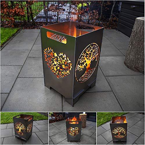 teileplus24 FT01 Feuertonne Feuerschale Feuerkorb Groß Eckig Steckbar Leichte Reinigung, Design:Baum 50cm