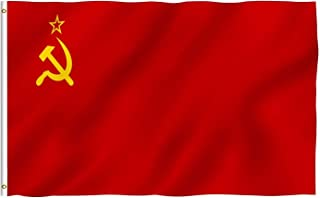 DANF USSR Russia Flag 3x5 Foot Polyester Union of Soviet Socialist Republics National Flags Polyester with Brass Grommets 3 X 5 Ft