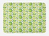 ABAKUHAUS Limón Tapete para Baño, Modelo monótono rodajas Limes, Decorativo de Felpa Estampada con Dorso Antideslizante, 45 cm x 75 cm, Verde y Blanco