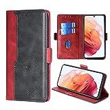 FiiMoo Custodia Compatibile con Samsung Galaxy S21 5G, Custodia in Pelle PU Premium [Slot per Schede] [Chiusura Magnetica] [Funzione di Supporto] Cover a Libro per Galaxy S21 5G -Rosso