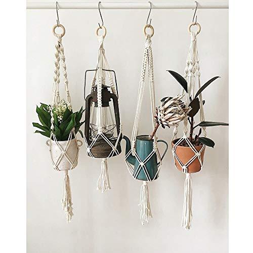 Perchas de plantas 3 piezas hechas a mano Bolsa de algodón tejida neto...