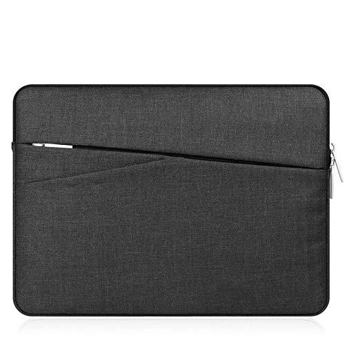 Laptop-/Tablet-Schutzhülle aus Leinen mit Tasche für 12,2 Zoll Samsung Chromebook Plus V2 11,6 Galaxy Book 12 Surface Pro 6 Google Pixelbook 12,3 Acer R11 HP 11 (schwarz)