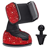 TreeLeaff Bling - Soporte para teléfono de coche con ventosa para mujer, 360 unidades, ajustable, elástico y elástico