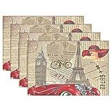 N\A Paris Eiffle Tower - Mantel Individual Vintage, Retro Big Ben France, Coche de periódicos, 12 'x 18', Mantel Individual de poliéster para Cocina, Comedor, Juego de 6
