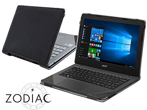 Broonel Schwarzes Leder Hülle Cover Tasche für das Acer Aspire One Cloudbook 11