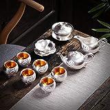 Tetera de plata 999 Sterling Silver Tea Set Copa Kung Fu juego de té de plata con el conjunto de té de cerámica de la tapa de la tetera Bowl por regalo ZHQHYQHHX ( Color : Light Grey , Size : Gratis )