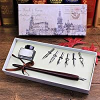 Zxyan 万年筆 ペンレトロなイタリアスタイルのクイルディップペンアート書道を書く木製ペンセット万年筆 高級筆記具 万年筆ギフト 贈り物