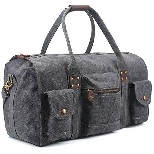 BAOSHA HB-15 Borsone Borsa da Viaggio per Sport di Tela e pelle Borsoni Tote Borsa Weekend Bag Borsa a Tracolla Uomo/Donna Vintage (Grigio)