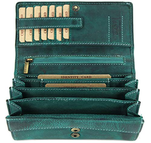 BELLI hochwertige Vintage Leder Damen Geldbörse Portemonnaie langes großes Portmonee Geldbeutel langes Portmonee aus weichem Leder in Petrol - 17,5x10x4cm (B x H x T)