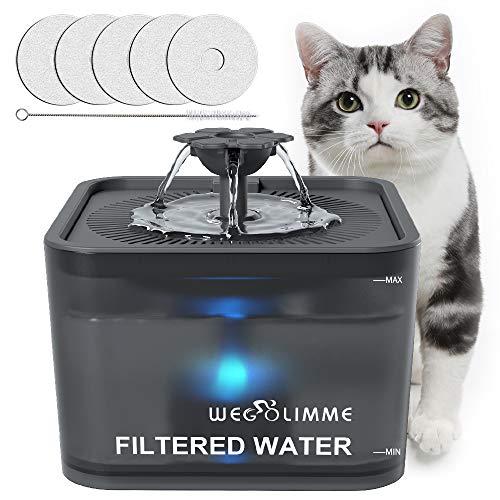 WEGOLIMME Bebedero Gatos | Perro 3L Automático Fuente para Gatos y Perros con 5 Filtros de Carbón Activado, Silencioso Súper, Inteligente LED Dispensador de Agua para Mascotas