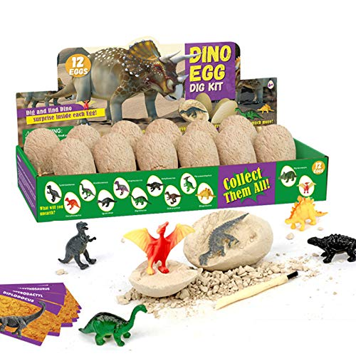 Dig Up Dinosaur Fossil Eggs,Break Open 12 Unique Dinosaur Eggs and Discover 12 Cute Dinosaurs - Easter Archaeology Science STEM Gift
