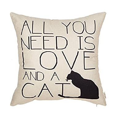 Fjfz All You Need is Love and a Cat Lover Quote Cotton Linen Home Decorative Throw Pillow Case Cushion Cover for Sofa Couch, 18  x 18