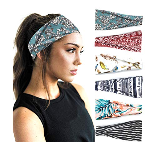 PLOVZ 6 Pack Women's Yoga Running Headbands Sports Workout Hair Bands (Set 10)