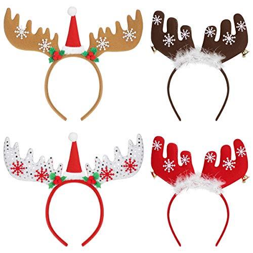 Frcolor Christmas Headbands Weihnachten Rentier Stirnbänder Haarbänder Haarband Weihnachten Hüte Party Favors für Erwachsene und Kinder, 4PCs