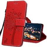 IMIRST Handyhülle für OPPO Reno4 Pro 5G Smartphone, Leder hülle für OPPO Reno 4 Pro 5G Flip Geldbörse Schutzhülle mit Kreditkarten, Ständer für OPPO Reno4 Pro 5G. KT1 Wish Tree Red