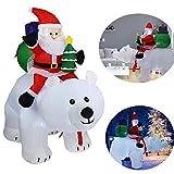 YONII 2.1m Decoraciones de muñecas inflables navideñas, Oso Polar Papá Noel, Papá Noel Inflable con ...