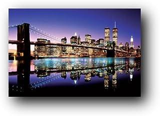 New York Manhattan Brooklyn Bridge Skyline Black /& White Poster Print 62X21