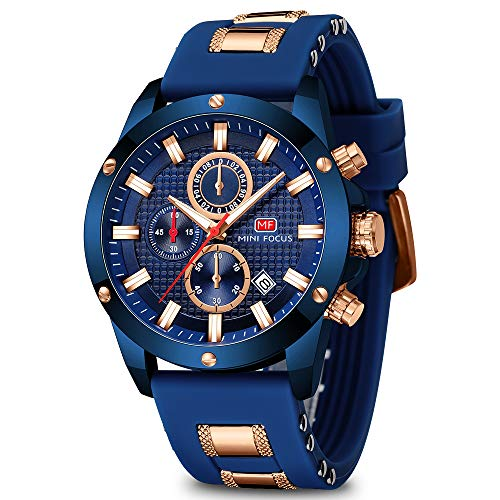 Men's Watch Analogue Military Chronograph Luminous Quartz Watch with Fashion Silicon Strap for Sport & Business Work MF0089G (Blue)