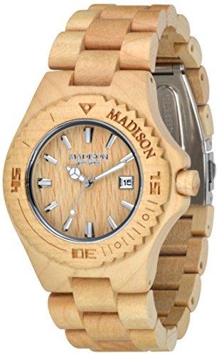 Madison–Bracciale unisex orologio orologio in legno al quarzo,...