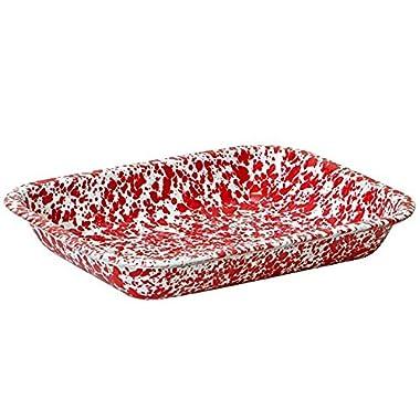 Enamelware Small Roasting Pan - Red Marble