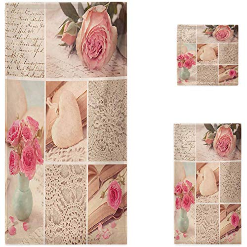 Nomorer Shabby Chic Bath Towels, Collage Photos Lace Roses Flower Leaves Old Art Print Bathroom Towels, Pale Pink Forest Green and White